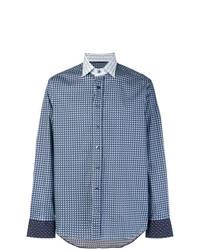 Chemise à manches longues imprimée bleue Etro