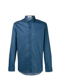 Chemise à manches longues imprimée bleue Fashion Clinic Timeless
