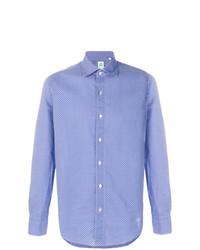Chemise à manches longues imprimée bleue Finamore 1925 Napoli