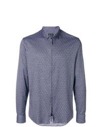 Chemise à manches longues imprimée bleue Giorgio Armani