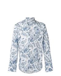 Chemise à manches longues imprimée cachemire blanc et bleu Etro