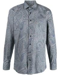 Chemise à manches longues imprimée cachemire bleu clair Etro
