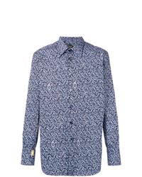 Chemise à manches longues imprimée cachemire bleu marine Billionaire