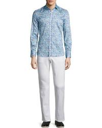 Chemise à manches longues imprimée cachemire bleue claire