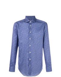 Chemise à manches longues imprimée cachemire bleue Etro