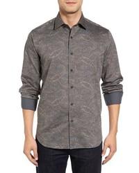 Chemise à manches longues imprimée cachemire grise