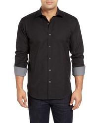 Chemise à manches longues imprimée cachemire noire