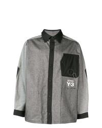 Chemise à manches longues imprimée gris foncé Y-3