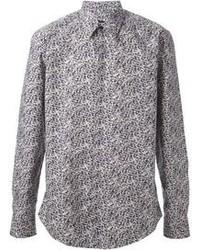 Chemise à manches longues imprimée grise