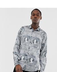 Chemise à manches longues imprimée grise ASOS DESIGN