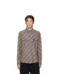 Chemise à manches longues imprimée grise Lemaire