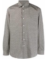 Chemise à manches longues imprimée grise Salvatore Ferragamo