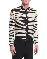Chemise à manches longues imprimée léopard beige