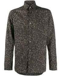 Chemise à manches longues imprimée léopard marron foncé Tom Ford