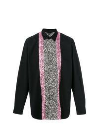 Chemise à manches longues imprimée léopard noire