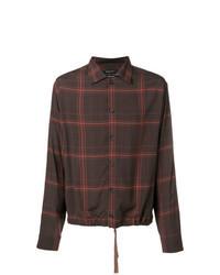 Chemise à manches longues imprimée marron foncé