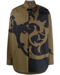 Chemise à manches longues imprimée marron Versace