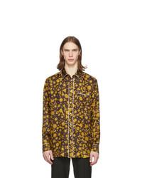 Chemise à manches longues imprimée moutarde Versace