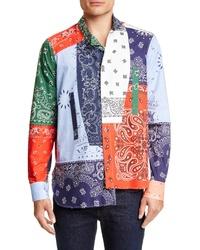 Chemise à manches longues imprimée multicolore
