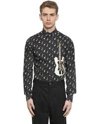 Chemise à manches longues imprimée noire et blanche
