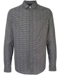 Chemise à manches longues imprimée noire et blanche Emporio Armani