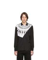 Chemise à manches longues imprimée noire et blanche Neil Barrett