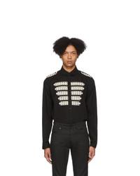 Chemise à manches longues imprimée noire et blanche Saint Laurent