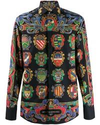 Chemise à manches longues imprimée noire Dolce & Gabbana