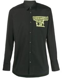 Chemise à manches longues imprimée noire DSQUARED2