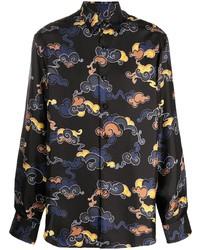 Chemise à manches longues imprimée noire Lanvin