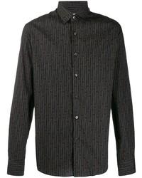 Chemise à manches longues imprimée noire Salvatore Ferragamo