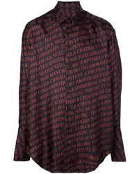 Chemise à manches longues imprimée noire Yang Li