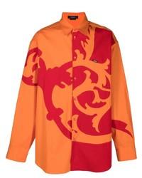Chemise à manches longues imprimée orange Versace