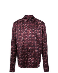 Chemise à manches longues imprimée pourpre foncé Yang Li