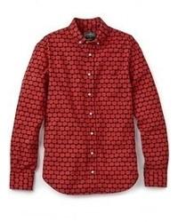Chemise à manches longues imprimée rouge