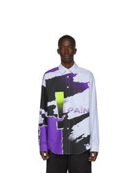 Chemise à manches longues imprimée tie-dye multicolore