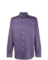 Chemise à manches longues imprimée violette Canali