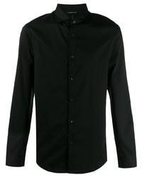 Chemise à manches longues noire Emporio Armani