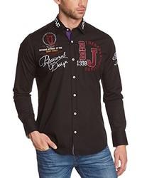 Chemise à manches longues noire Redbridge