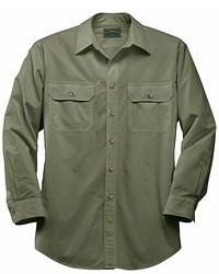 Chemise à manches longues olive