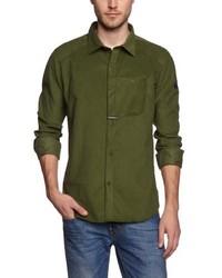 Chemise à manches longues olive Maloja