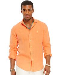 Chemise à manches longues orange
