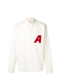 Chemise à manches longues ornée blanche AMI Alexandre Mattiussi