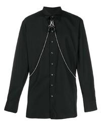 Chemise à manches longues ornée noire DSQUARED2