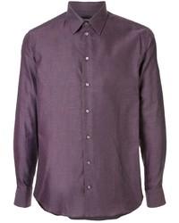 Chemise à manches longues pourpre foncé Emporio Armani