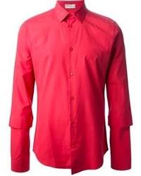 Chemise à manches longues rouge
