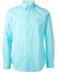 Chemise à manches longues turquoise