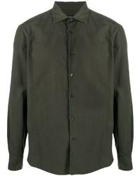 Chemise à manches longues vert foncé Ermenegildo Zegna