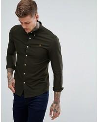 Chemise à manches longues vert foncé Farah