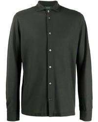 Chemise à manches longues vert foncé Zanone